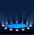 scene illuminated spotlights rays light on vector image vector image