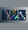 set abstract background design with linear vector image vector image