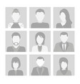 set faces with hair flat gray icons of vector image