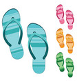 set slippers sandals isolated on white vector image vector image