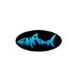 shark alphabet for logo design on black background vector image vector image