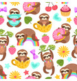 sloth pattern sleep animal cartoon sloths eat vector image vector image