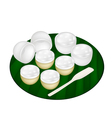 Thai Dessert of Coconut Pudding on Banana Leaf vector image vector image
