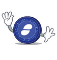 waving status coin character cartoon vector image vector image