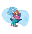 Woman sitting in chair working on notebook vector image vector image