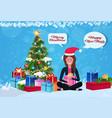woman sitting lotus pose fir tree gift box vector image vector image