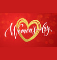 women day gold glitter heart 8 march greeting card vector image