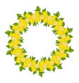wreath is made from yellow lemons and green leaves vector image vector image