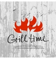 lettering hand drawn logotype with fire on vector image