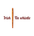 Wooden Tin Whistle vector image