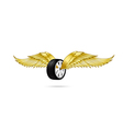 Car wheel and tire with flying pair of wings for vector image
