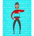Concept of programmer superhero people Binary vector image
