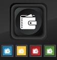 Purse icon symbol Set of five colorful stylish vector image
