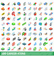 100 career icons set isometric 3d style vector image vector image