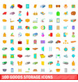 100 goods storage icons set cartoon style vector image vector image