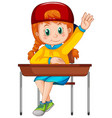 a girl sitting on chair vector image vector image
