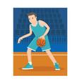 a young basketball player dribble the ball vector image vector image