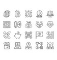 bitcoin simple black line icons set vector image vector image