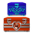 blue box with ornament and red box with ruby heart vector image vector image