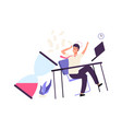 business fail unorganized office worker tired vector image