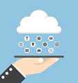businessman hand holding tablet with cloud vector image vector image