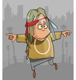 cartoon funny hippie man jumping in the city vector image vector image