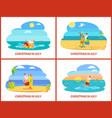 cartoon on beach in july vector image vector image