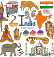 Collection of India icons vector image vector image