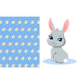 cute bunny and pattern vector image vector image
