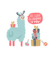 cute llama christmas card with lettering vector image