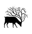 deer with tree antlers mascot vector image vector image