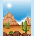 desert scene with mountains and cactus vector image