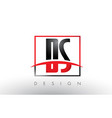 ds d s logo letters with red and black colors and vector image vector image