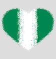 flag nigeria on grunge heart vector image