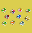 flat icons set of business pie chart and currency vector image vector image