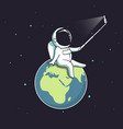 funny astronaut make selfie on earth vector image