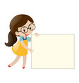 girl with glasses holding blank paper vector image vector image