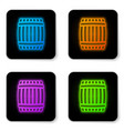 glowing neon wooden barrel icon isolated on white vector image vector image
