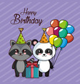 happy birthday card with panda and raccoon vector image