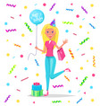 happy birthday lady with balloon on lace confetti vector image vector image