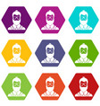 hipsster man icon set color hexahedron vector image vector image