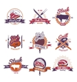 Hot Grill Steak Emblems vector image vector image
