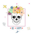human skull and flower vector image vector image