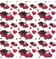 isometrics cars and hearts pattern background vector image vector image
