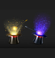 magic wand and magician hat with spell light vector image