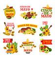 mexican cinco de mayo fiesta party badge design vector image vector image