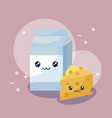 milk in box and cheese kawaii character vector image vector image
