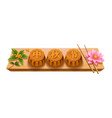 mooncakes with calligraphy mid autumn festival vector image vector image