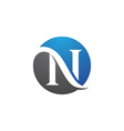 n letter logo template vector image vector image