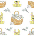 narcissus bouquet easter seamless pattern vector image
